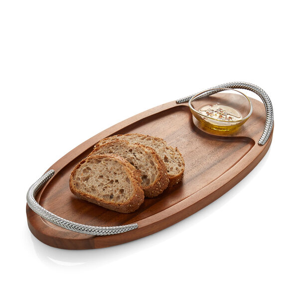 Braid Serving Board W/Dipping Dish - 18""