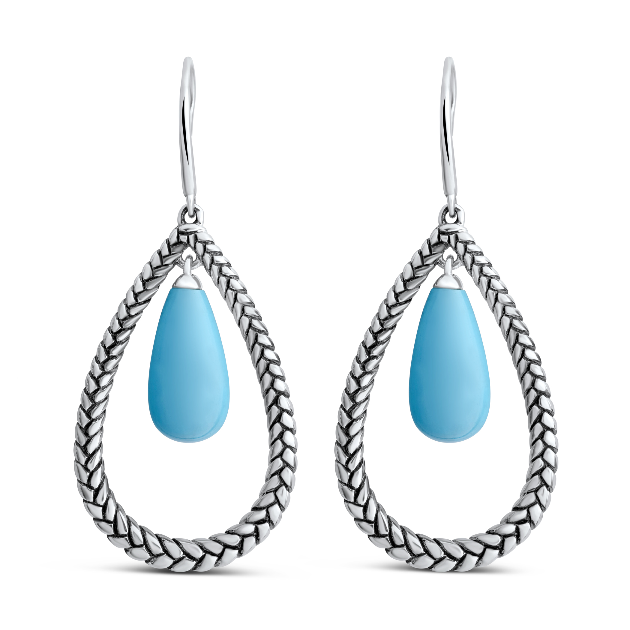 Marina Braid Silver Floating Pear Earrings image number 0