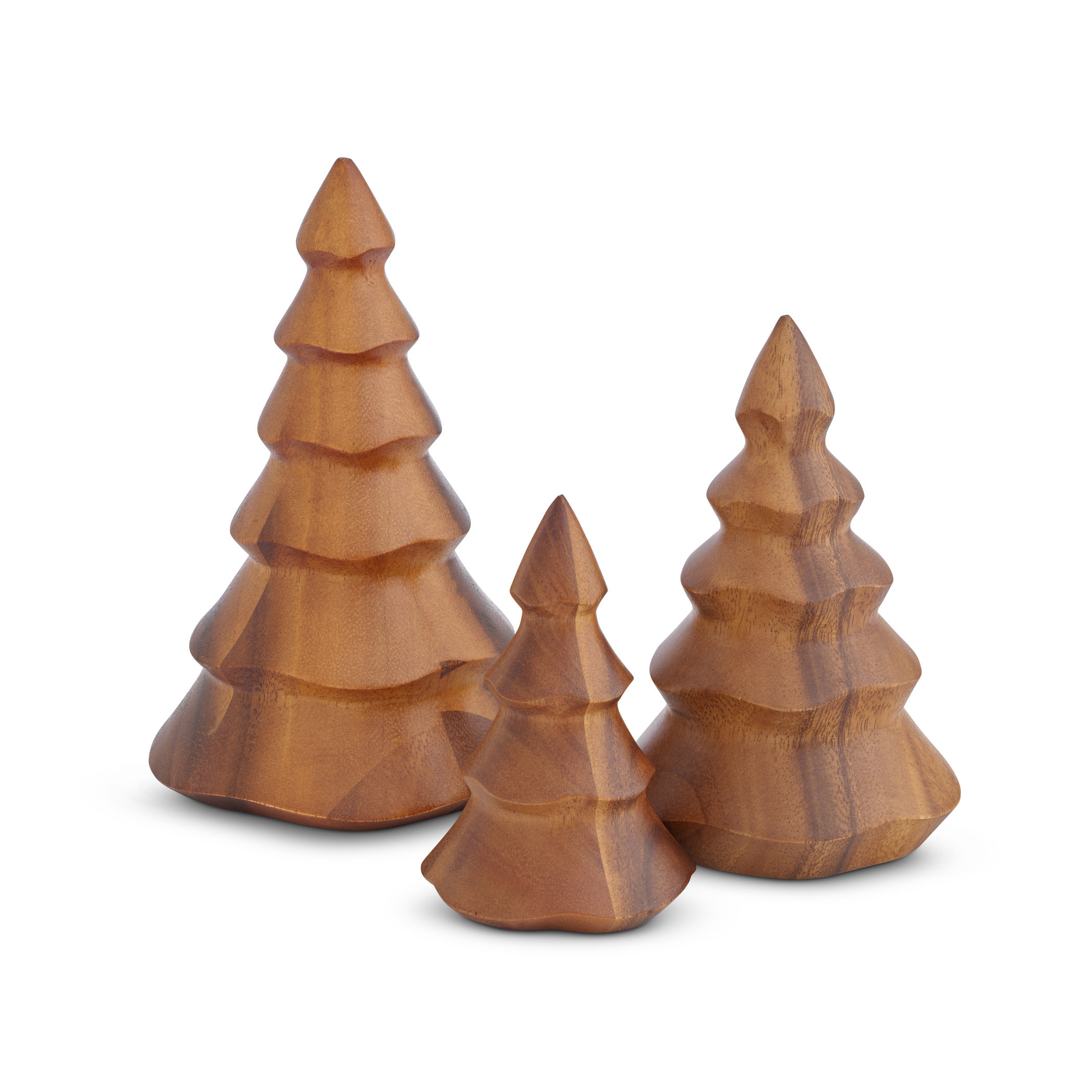 Nambe Deck The Halls Wood Christmas Trees Set Of 3 Nambe