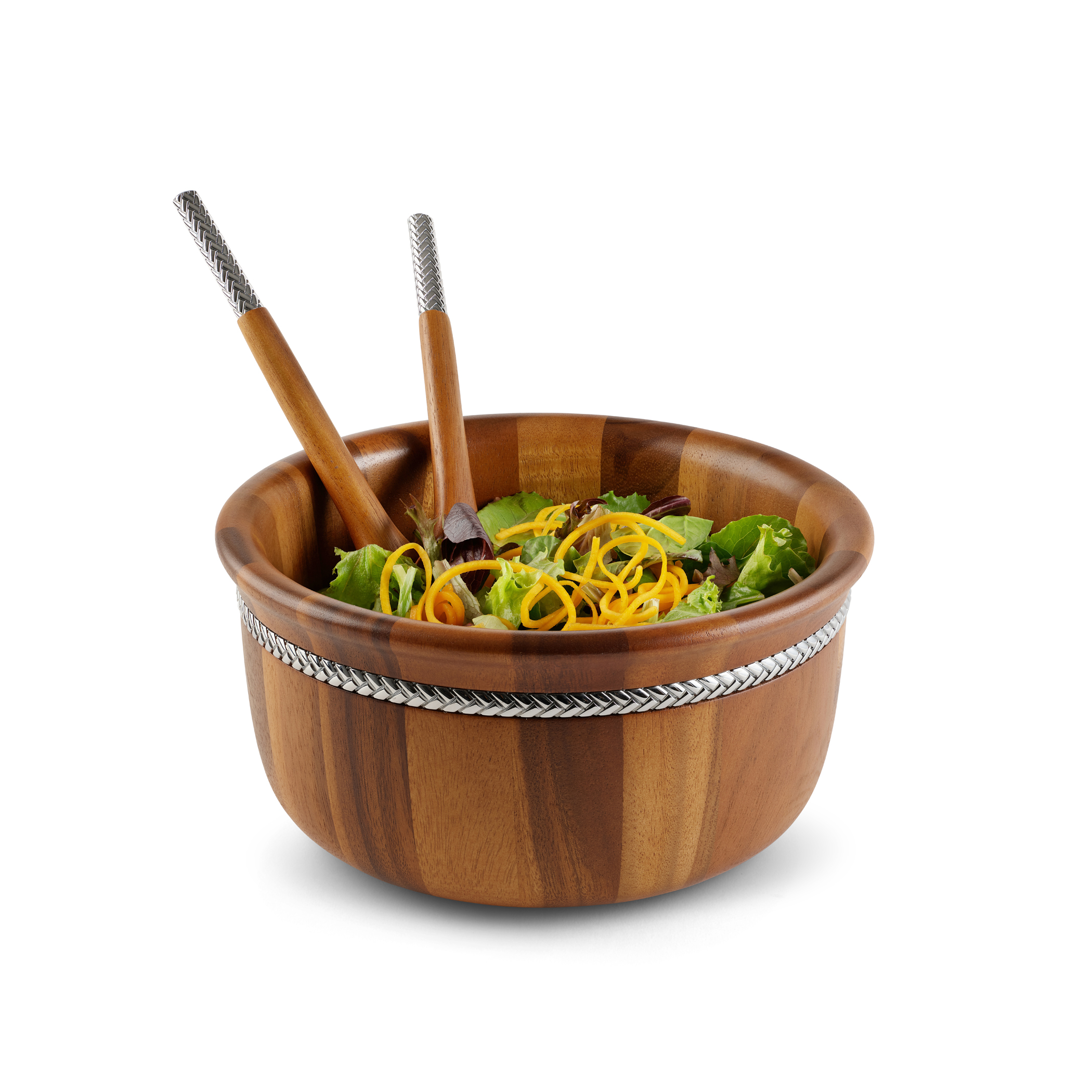 Braid Round Salad Bowl w/ Servers image number 1