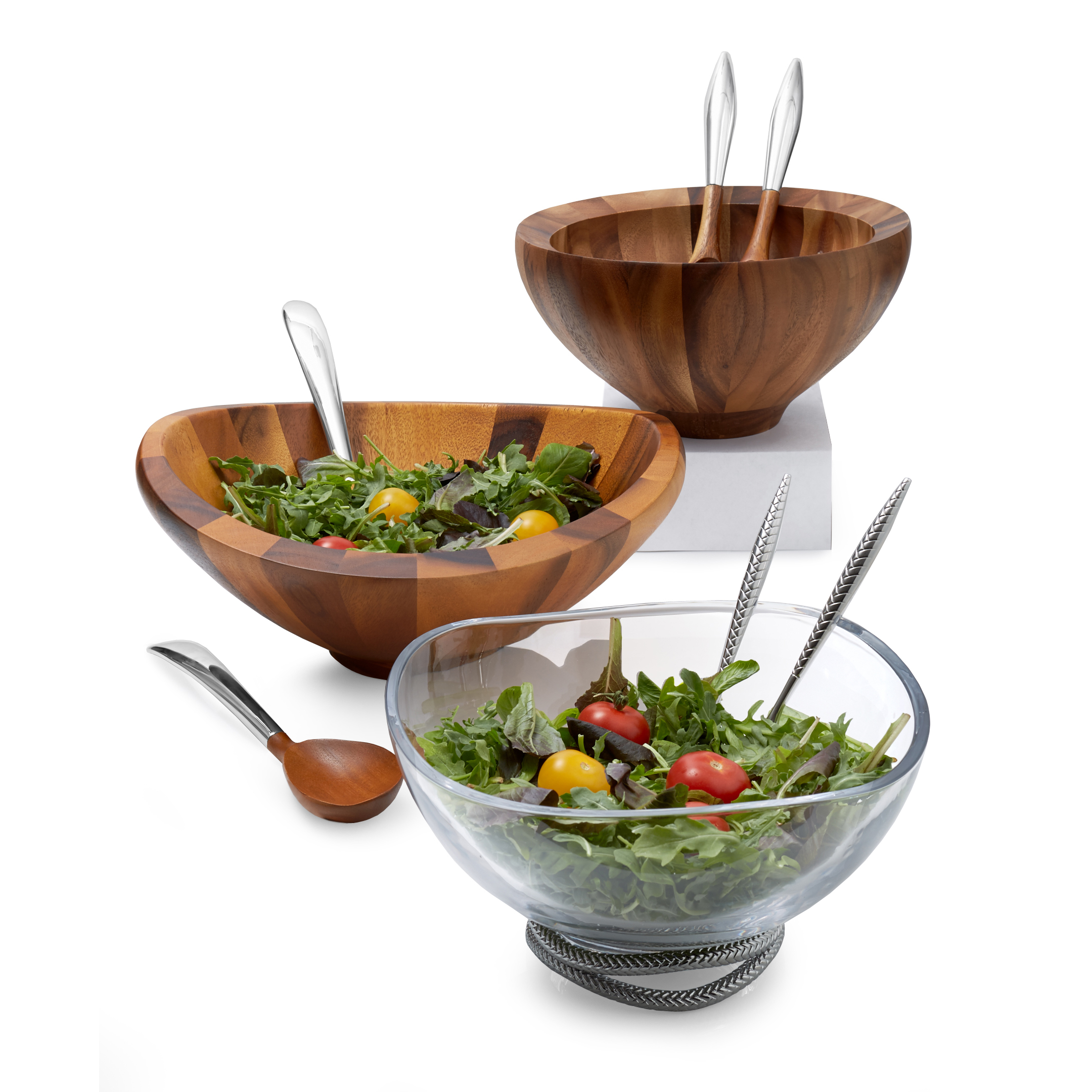 Braid Glass Salad Bowl w/ Servers image number 3